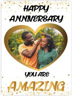 gold heart happy anniversary