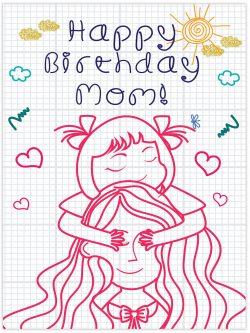 girl covers mom eyes happy birthday