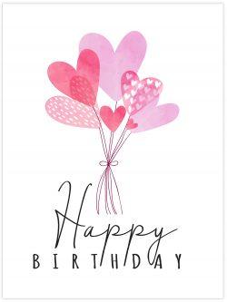 Happy Birthday Balloon hearts