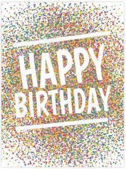 happy birthday colourful confetti